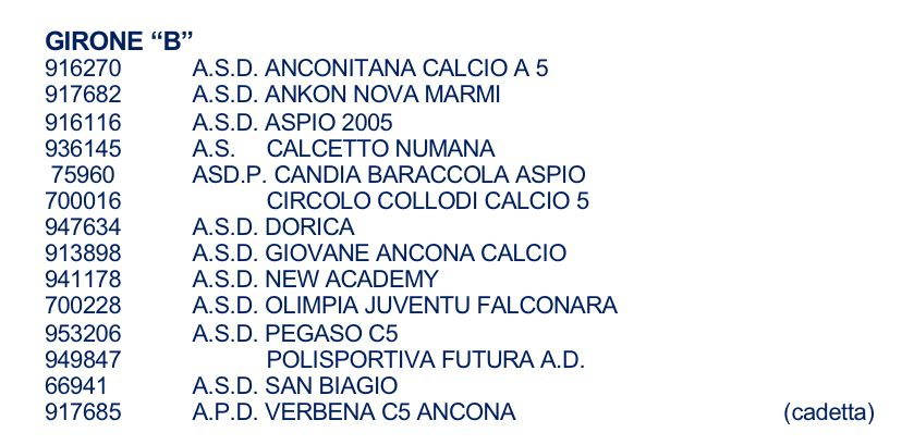 girone calcio a 5